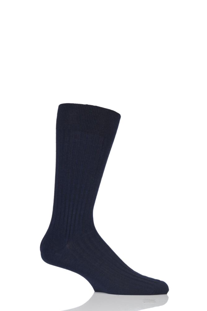 Mens 1 Pair Pantherella Fine Gauge Escorial Wool Ribbed Socks