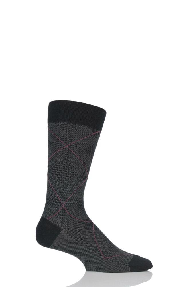 Mens 1 Pair Pantherella Escorial Wool Orwell Patchwork Jacquard Socks