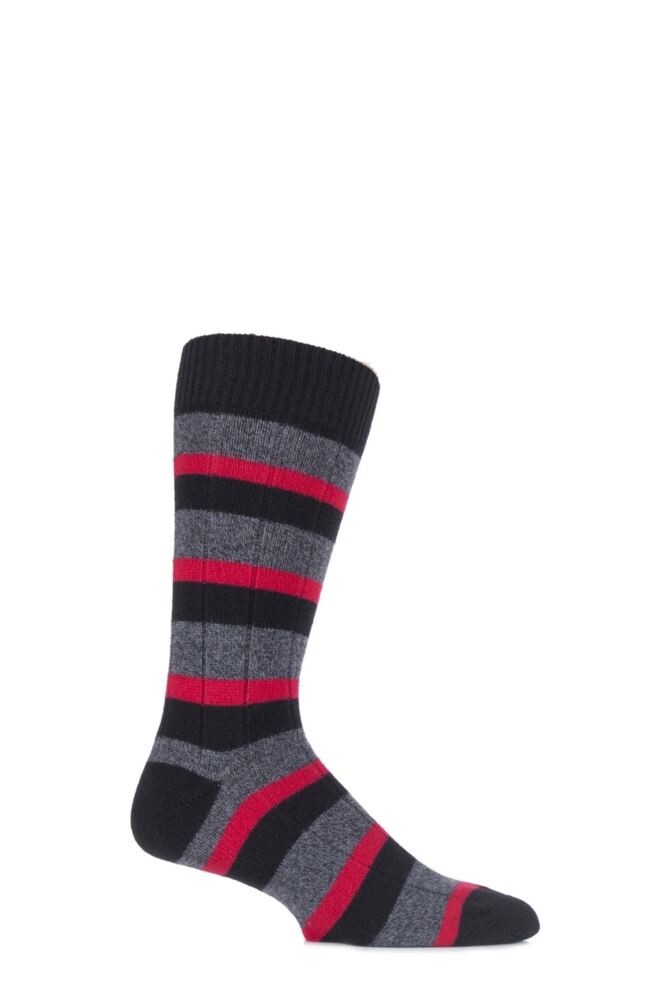 Mens 1 Pair Pantherella Sauvey Cashmere and Lambswool Striped Socks 25% OFF