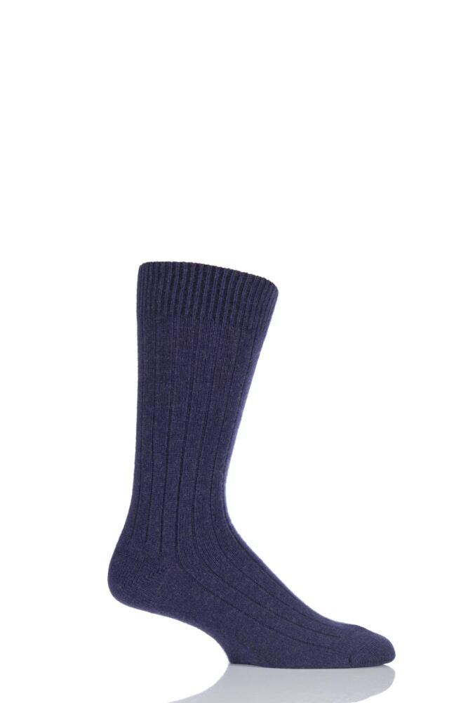 Mens 1 Pair Pantherella 85% Cashmere Rib Socks