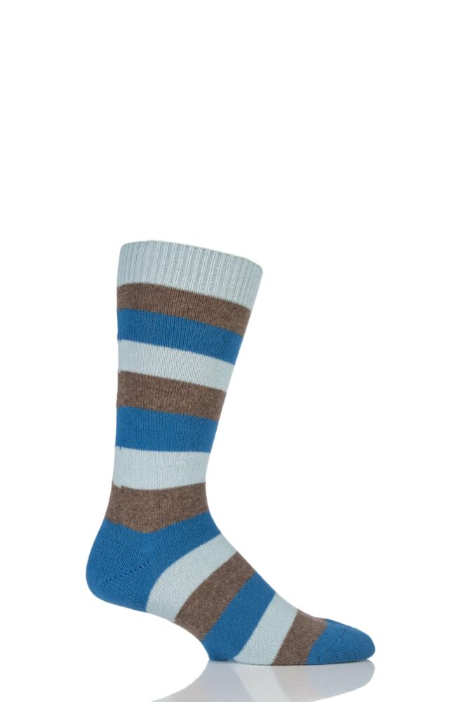 Mens 1 Pair Pantherella 85% Cashmere Rockingham Colour Block Striped Socks 25% OFF