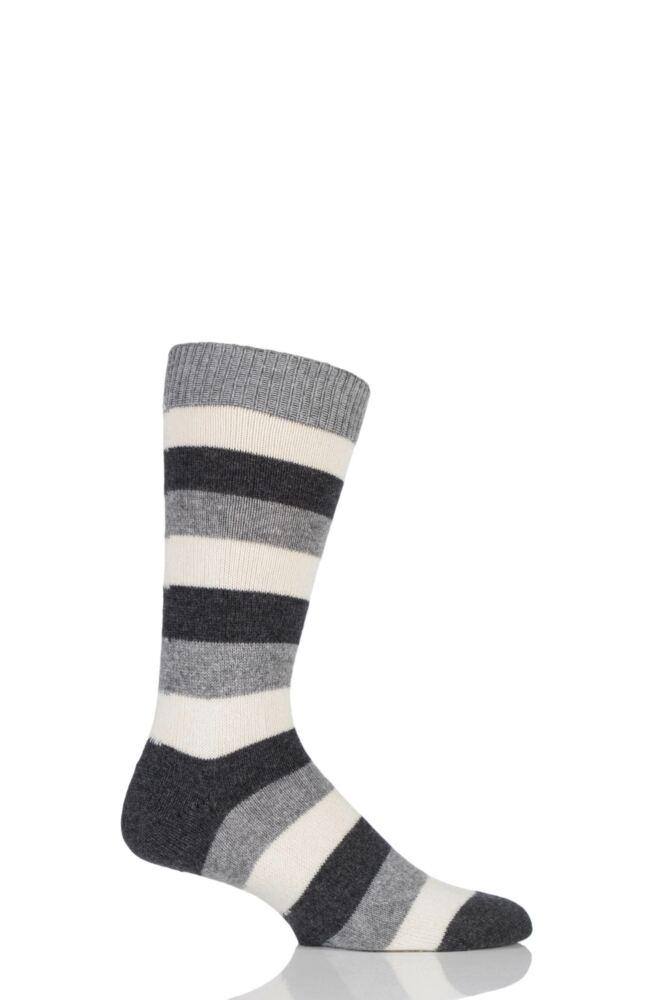 Mens 1 Pair Pantherella 85% Cashmere Rockingham Colour Block Striped Socks
