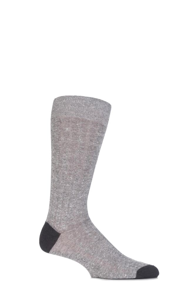 Mens 1 Pair Pantherella Hamada Cotton and Linen Blend Socks
