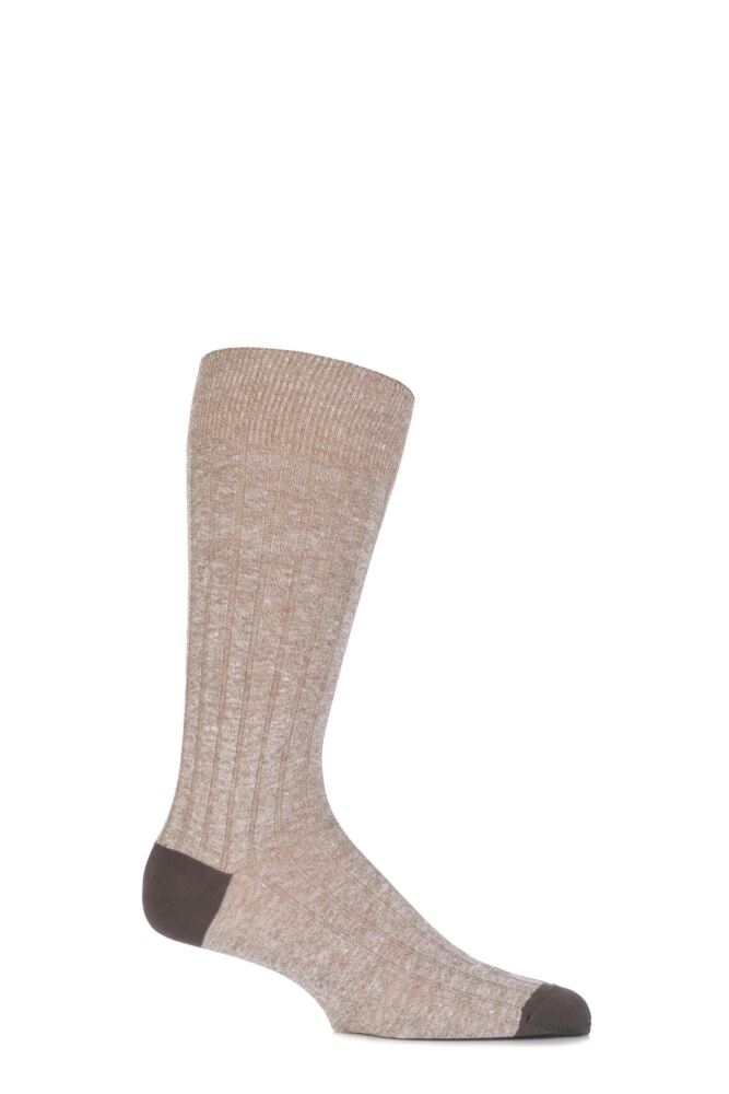 Mens 1 Pair Pantherella Hamada Cotton and Linen Blend Socks