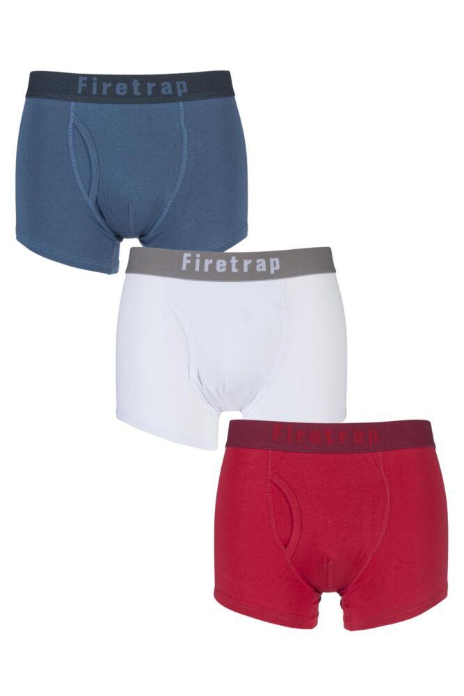 Mens 3 Pack Firetrap Plain Keyhole Boxer Shorts
