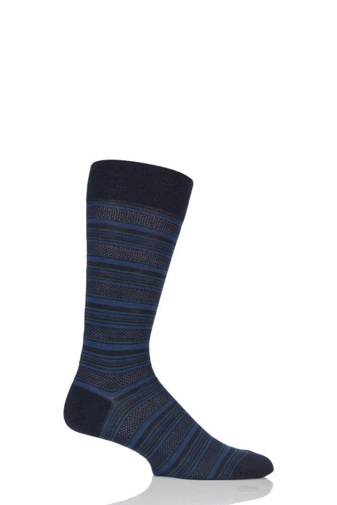 Mens 1 Pair Pantherella Vintage Stannard Multi Stripe Merino Wool Socks