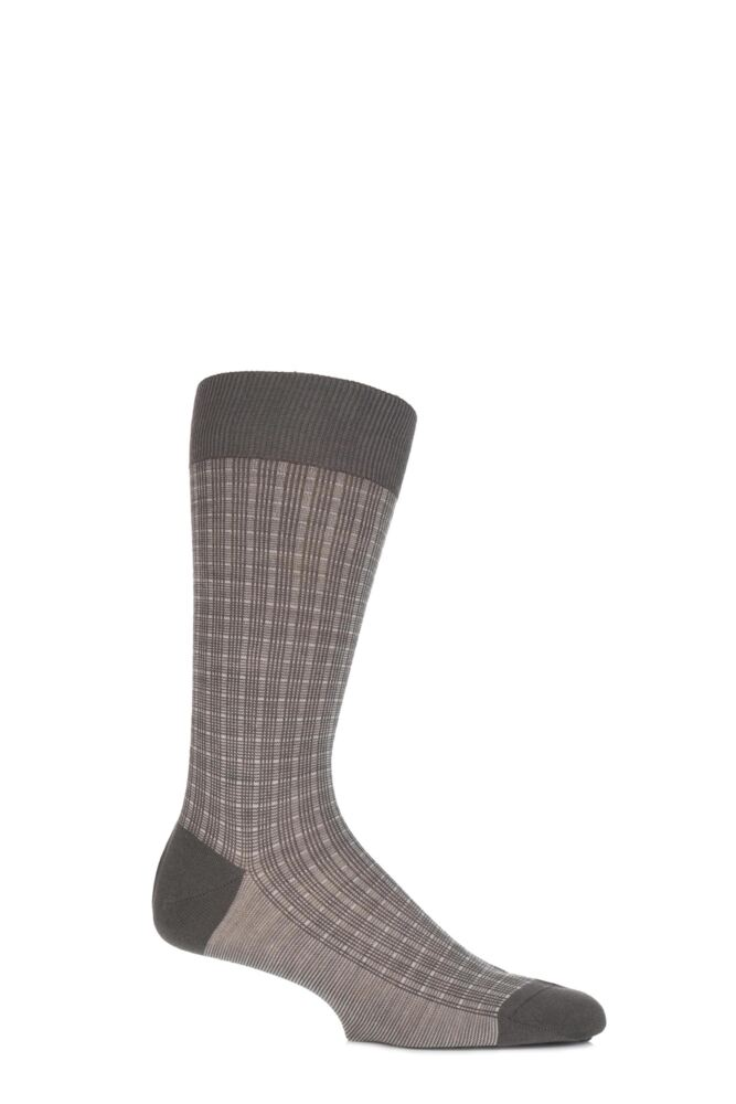 Mens 1 Pair Pantherella Vintage Gatcombe Chequered Grid Merino Wool Socks