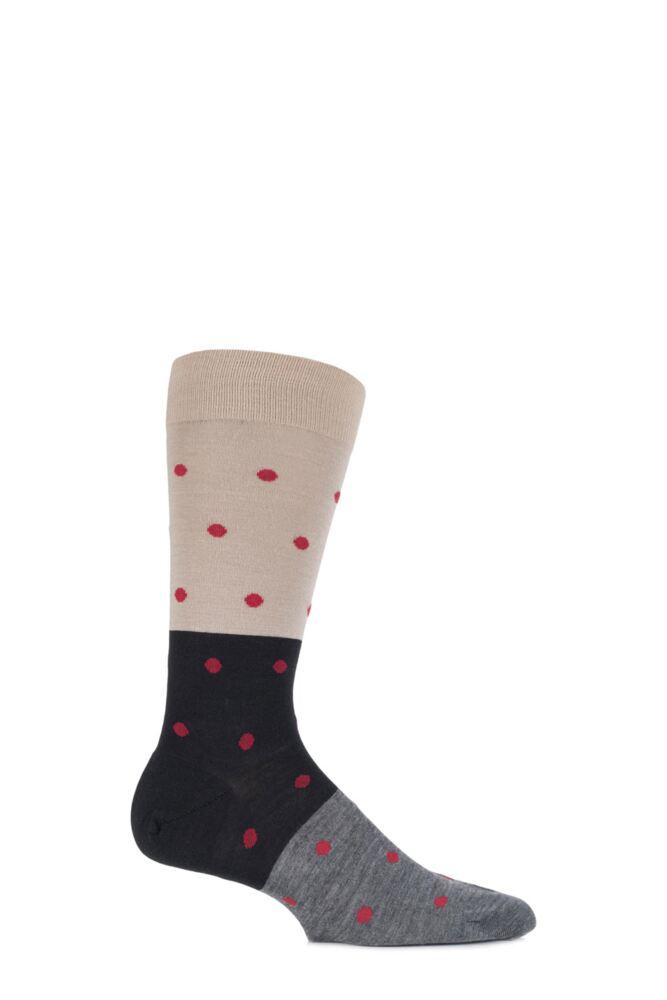 Mens 1 Pair Richard James Puno Spot and Block Striped Merino Wool Socks