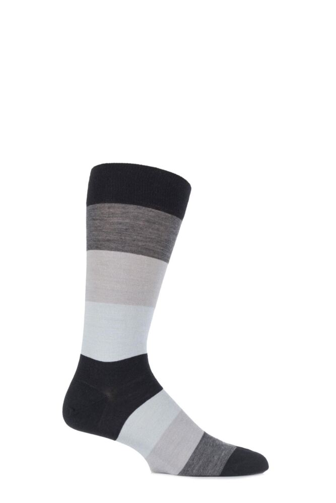 Mens 1 Pair Richard James Casma Block Striped Merino Wool Socks