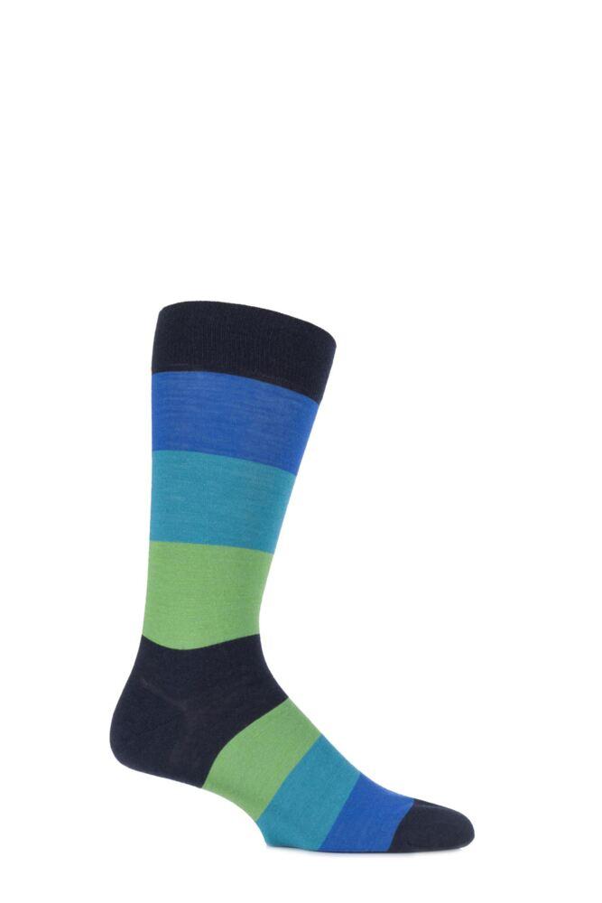 Mens 1 Pair Richard James Casma Block Striped Merino Wool Socks