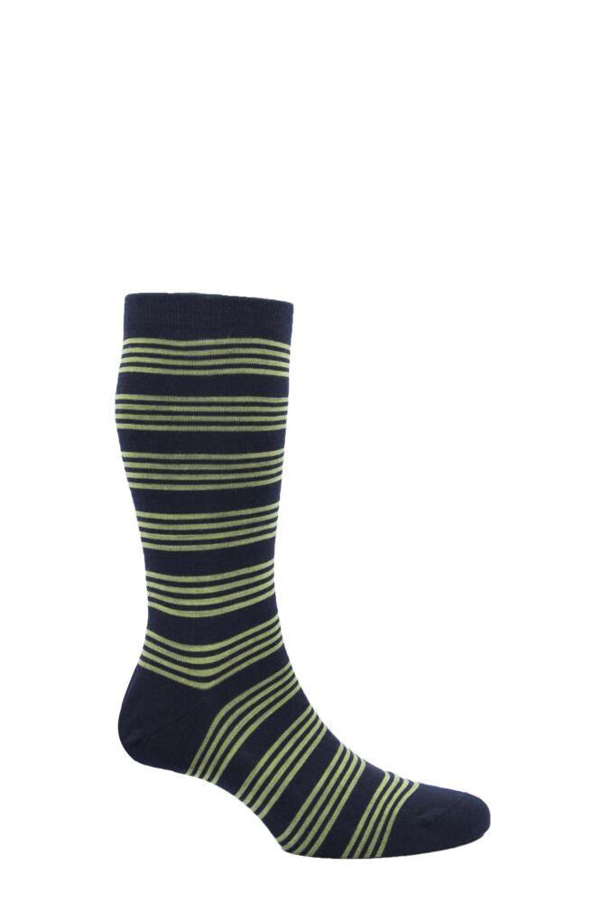 Mens 1 Pair Pantherella Merino Wool Spencer Banded Bright Striped Socks
