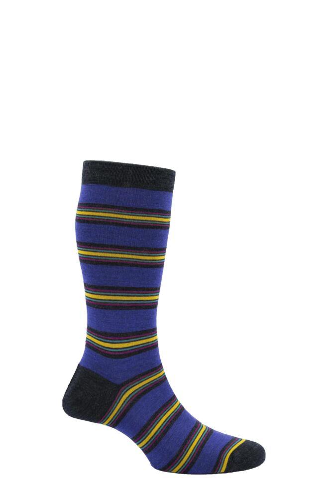 Mens 1 Pair Pantherella Merino Wool Beaufort Regular Block Striped Socks