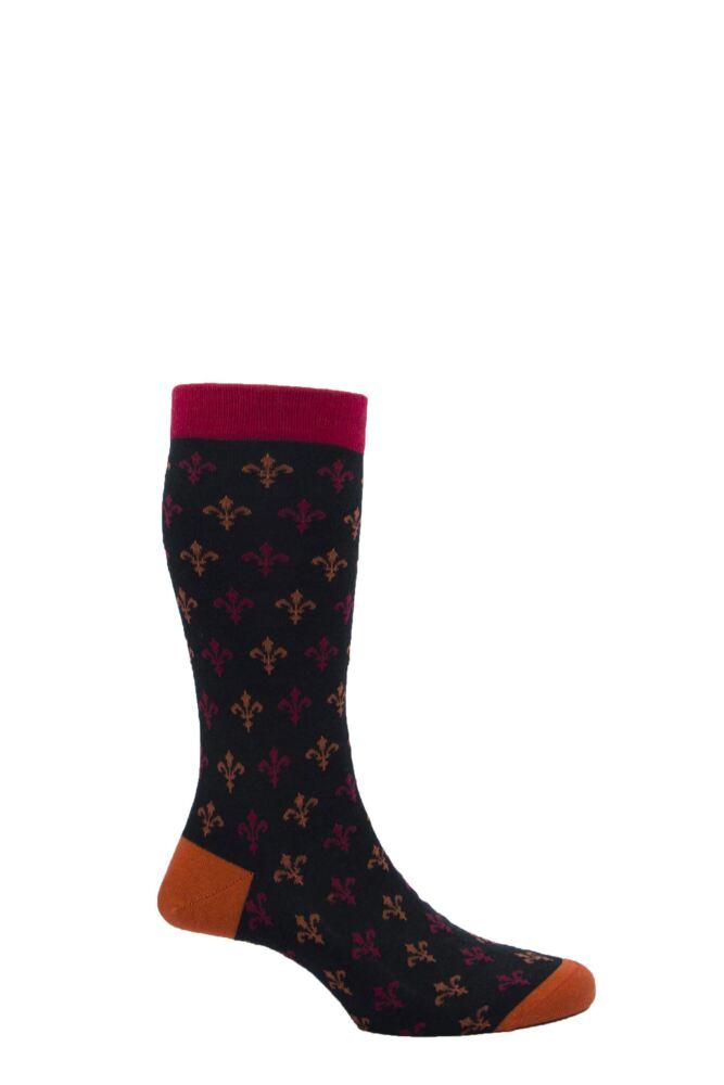 Mens 1 Pair Pantherella Merino Wool Clarence Fleur-de-lys Socks