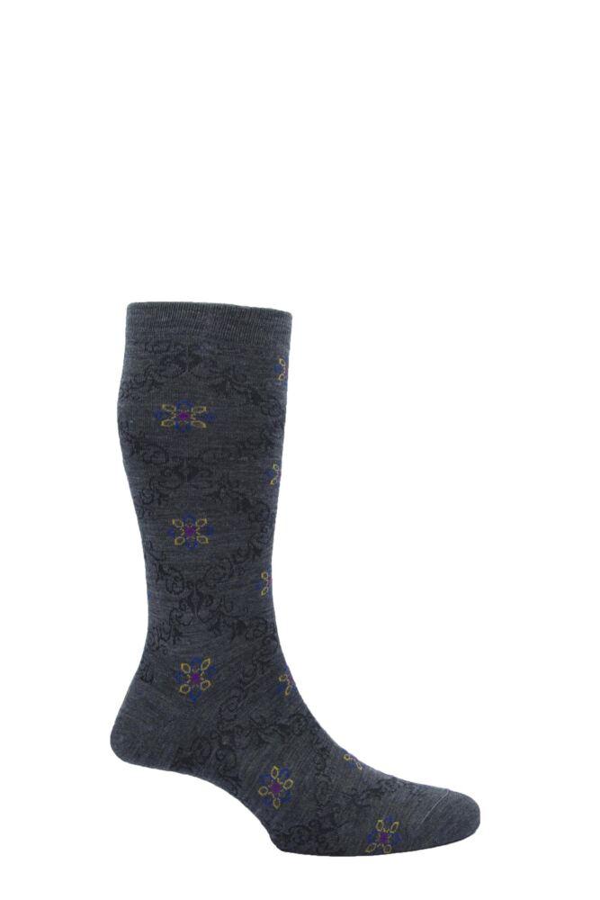 Mens 1 Pair Pantherella Merino Wool Tudor Lattice Socks