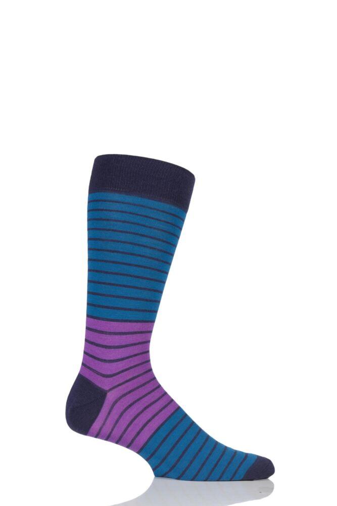 Mens 1 Pair Richard James Strathaird Colour Block Merino Wool Socks