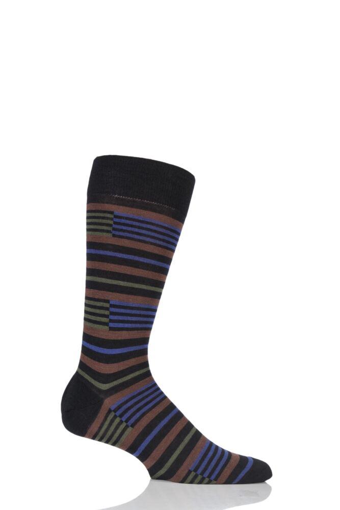 Mens 1 Pair Pantherella Modern Collection Brixton Banded Stripe Socks