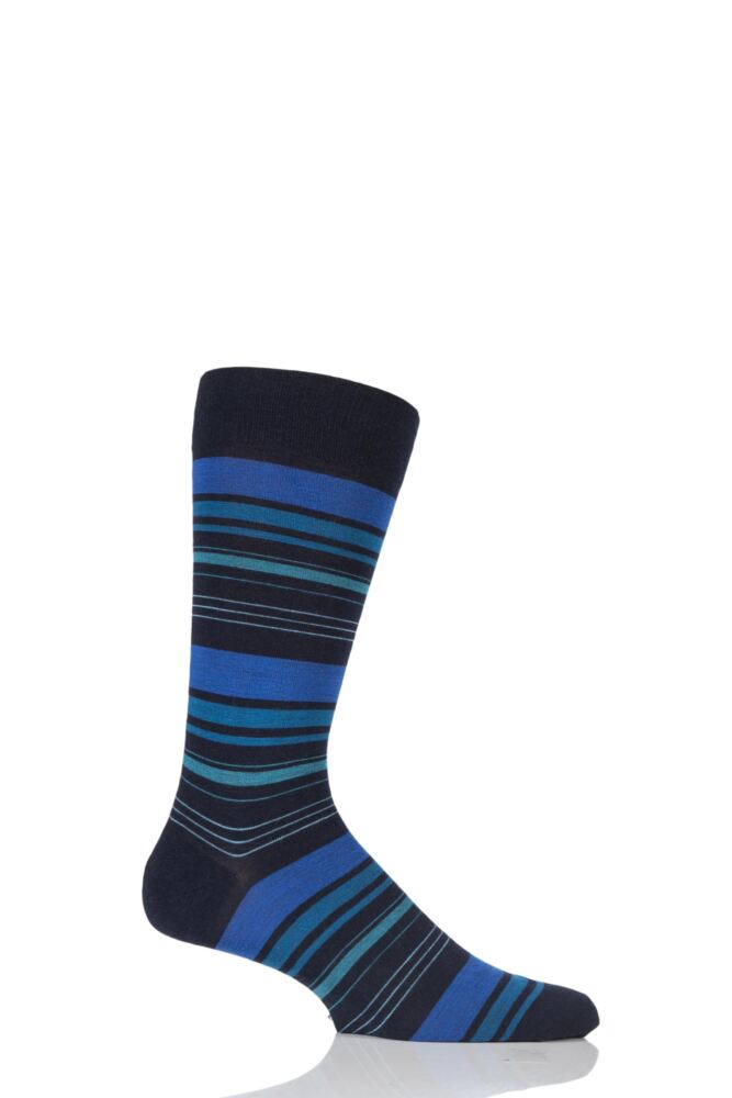 Mens 1 Pair Richard James Strathnaver Varied Stripe Merino Wool Socks