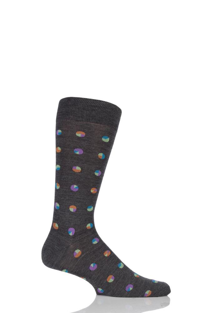 Mens 1 Pair Richard James Barrabool Sliced Spots Merino Wool Socks