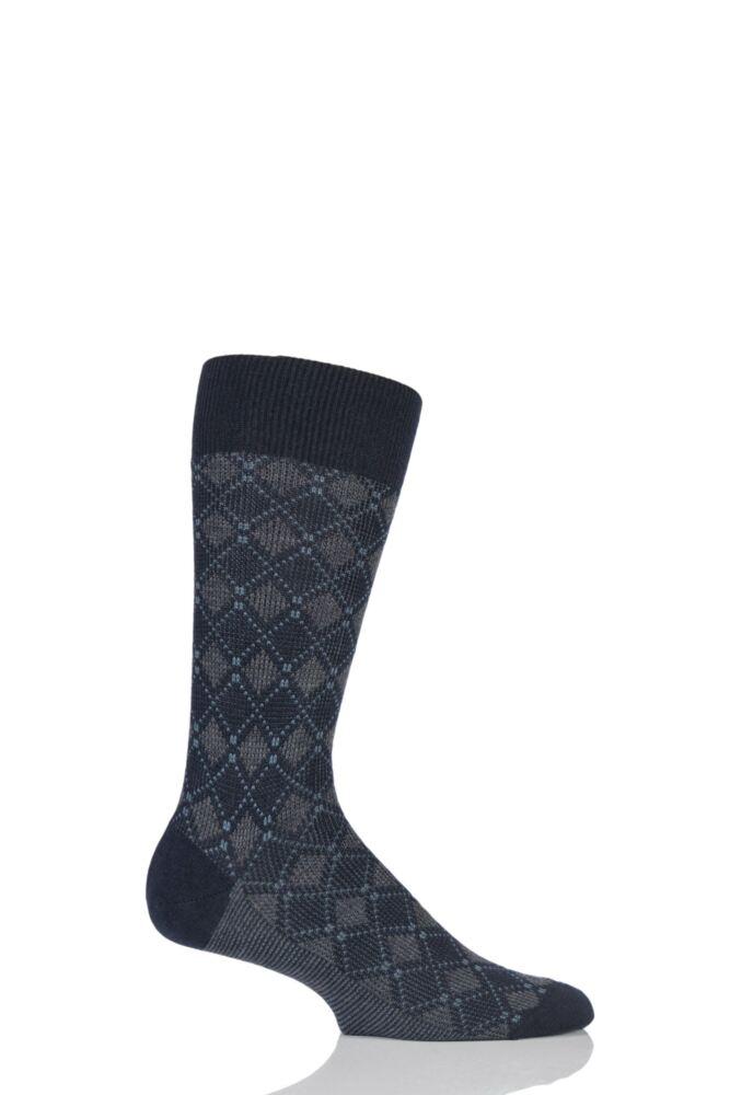 Mens 1 Pair Pantherella Merino Wool Holmead Retro Diamond Harlequin Socks