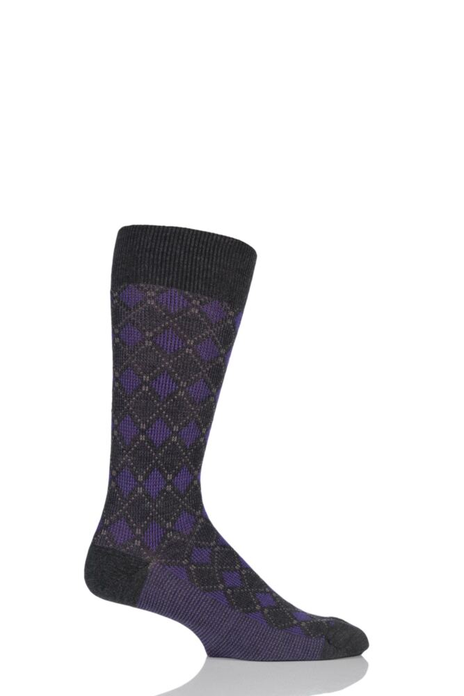 Mens 1 Pair Pantherella Merino Wool Holmead Retro Diamond Harlequin Socks