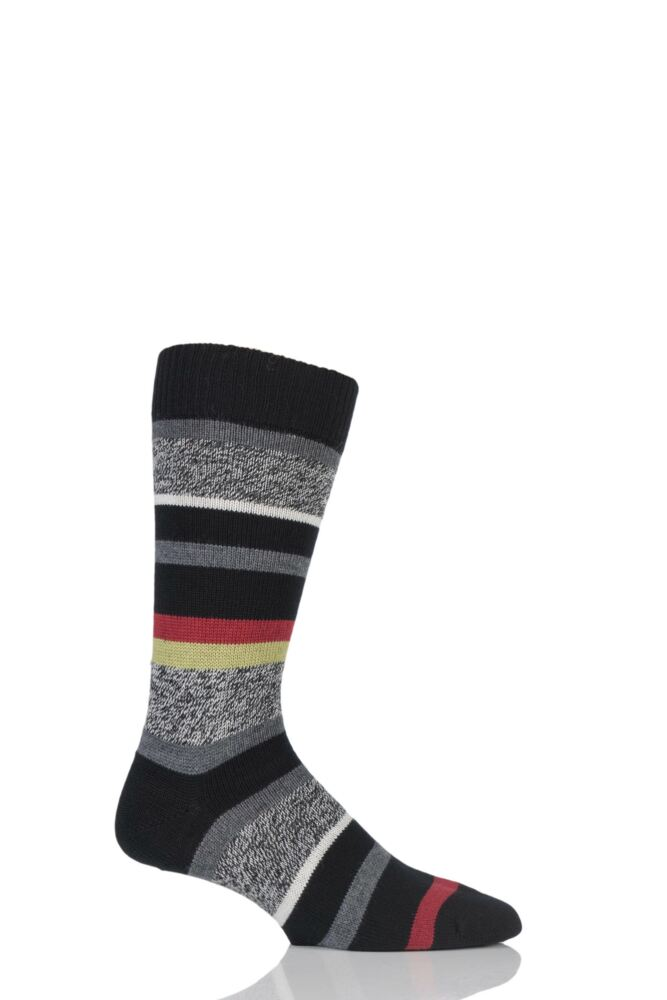 Mens 1 Pair Pantherella Merino Wool Saddleworth Six Colour Striped Socks