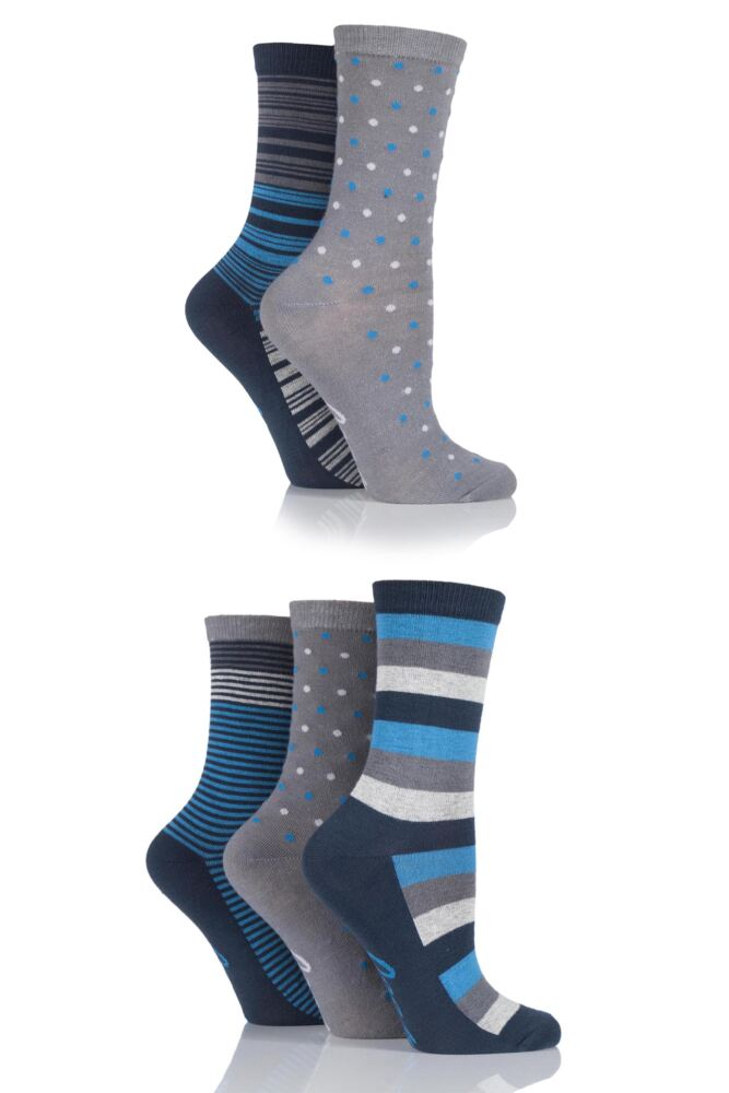 Ladies 5 Pair Jeep Urban Trail Stripe and Spots Socks