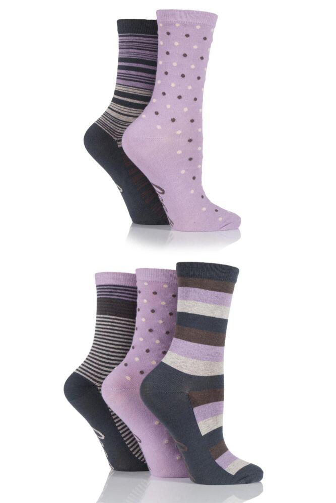 Ladies 5 Pair Jeep Urban Trail Stripe and Spots Socks