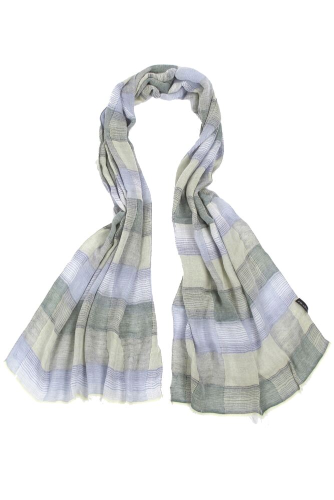 Mens Fraas Modal Lightweight Striped Check Scarf 75% OFF