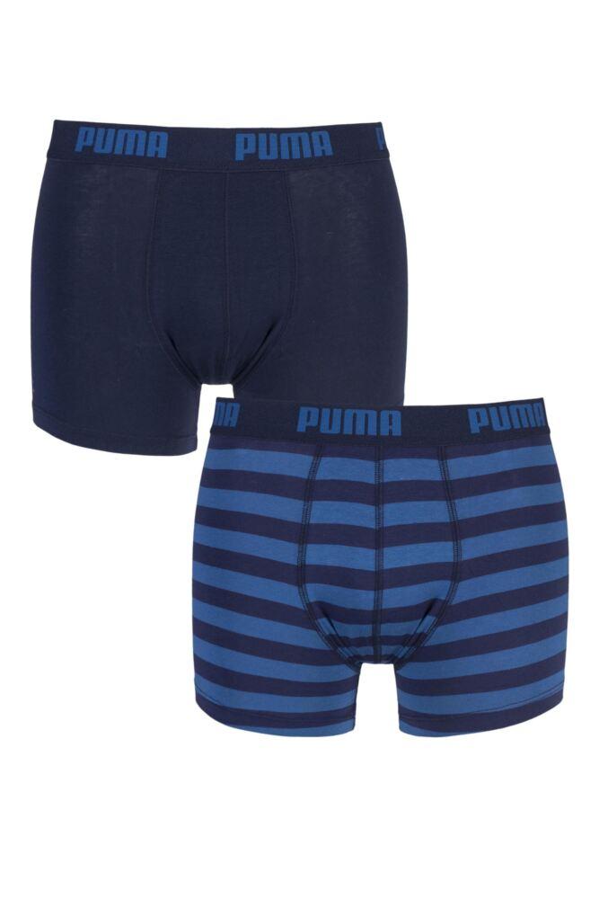 Mens 2 Pair Puma Plain and Striped Cotton Boxer Shorts