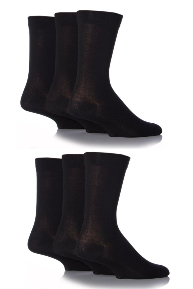 Mens 6 Pair SockShop Comfort Cuff Plain Bamboo Socks