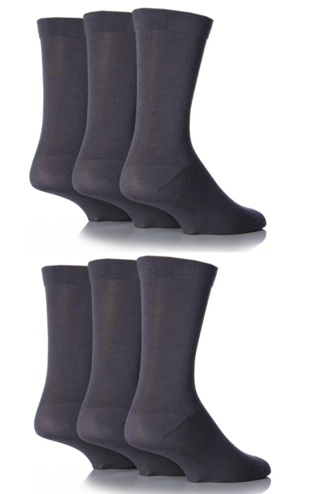 Mens 6 Pair SockShop Comfort Cuff Plain Bamboo Socks