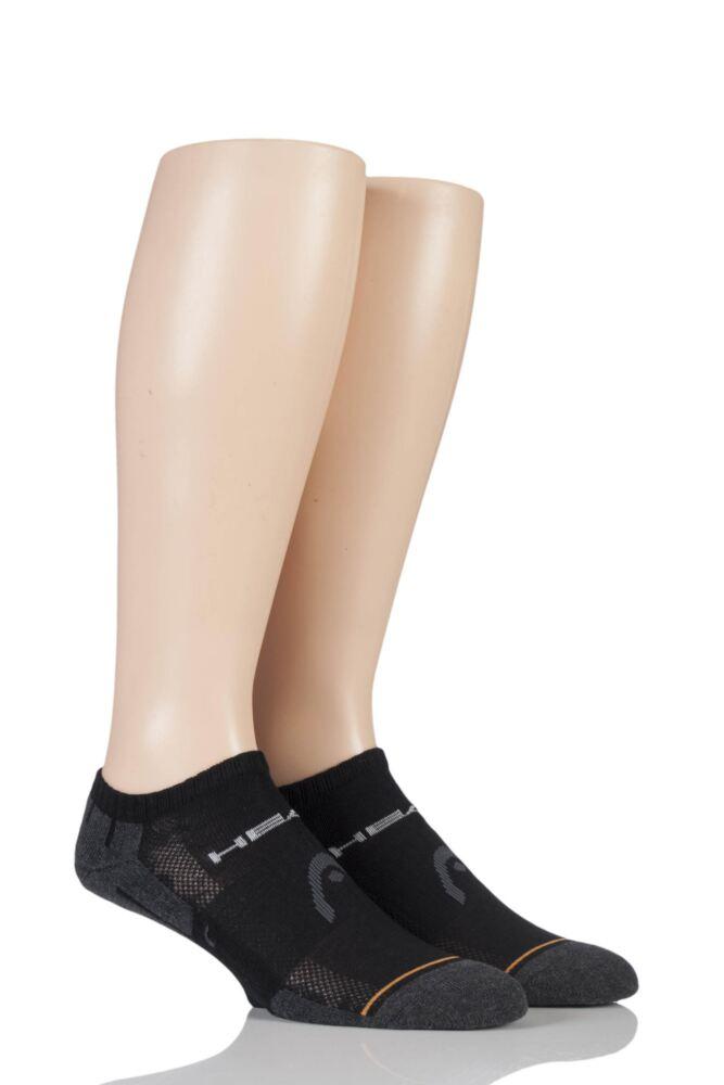 Mens 2 Pair Head Performance Sport Sneaker Socks In Black