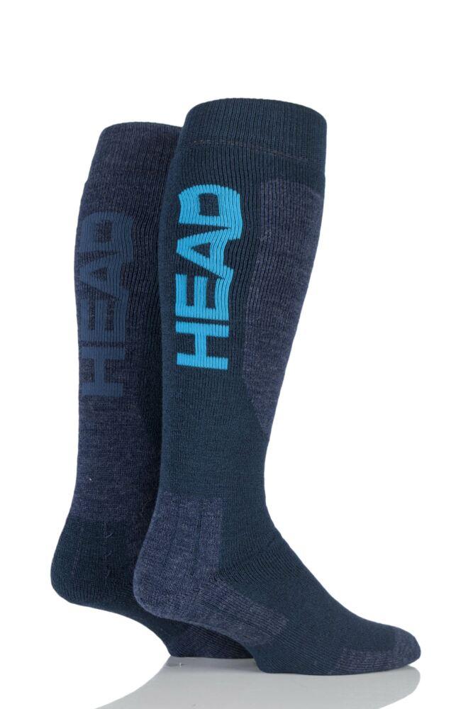 Mens 2 Pair Head Wool Blend Ski Socks