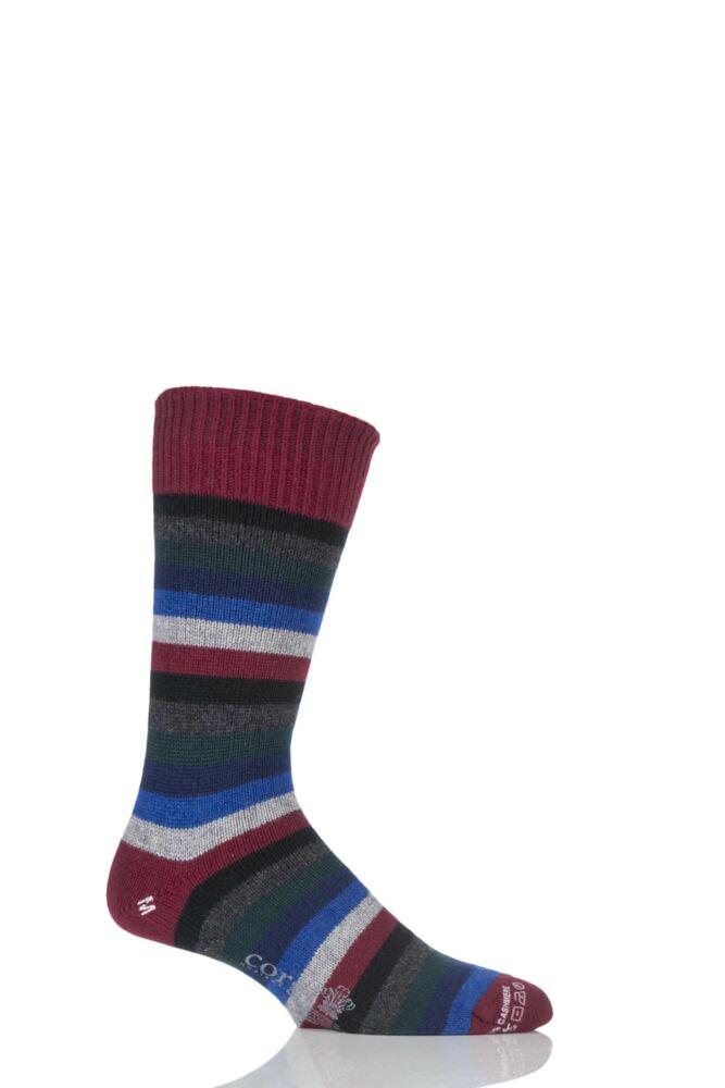 Mens 1 Pair Corgi 100% Cashmere Multi Striped Socks