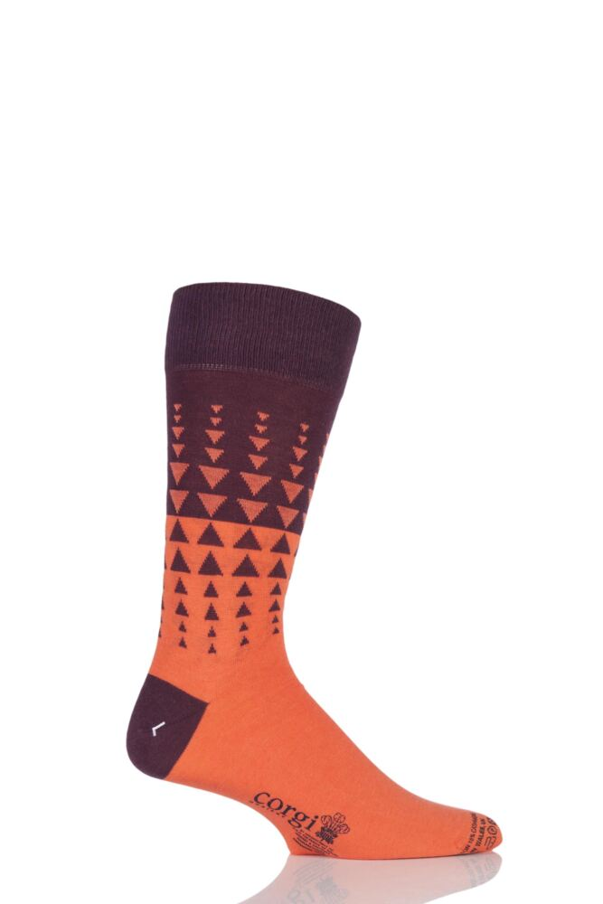 Mens 1 Pair Corgi Lightweight Cashmere Blend Two-Tone Triangle Patterned Socks