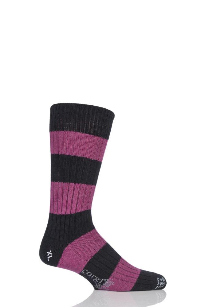 Mens 1 Pair Corgi Heavyweight Wool Rugby Striped Socks