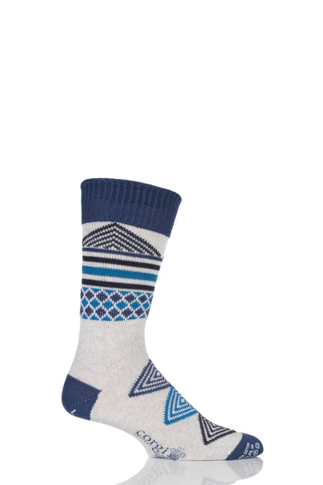 Mens 1 Pair Corgi Heavyweight Wool Aztec Socks