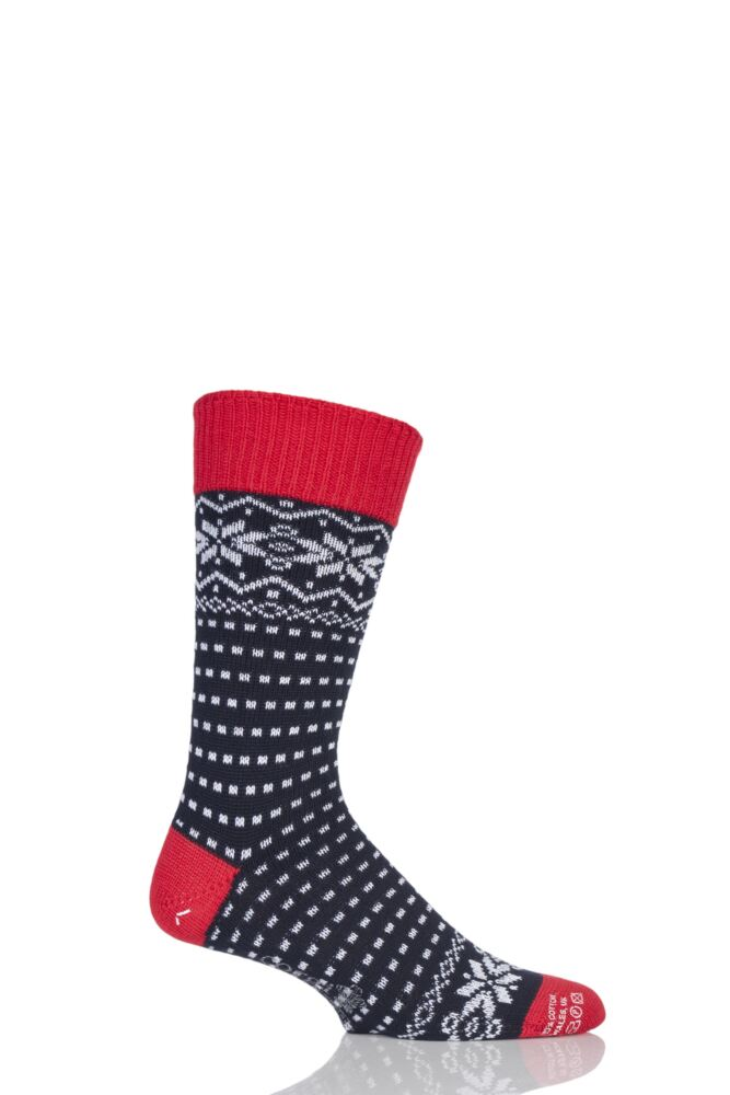 Mens 1 Pair Corgi Heavyweight Wool Fair Isle Socks
