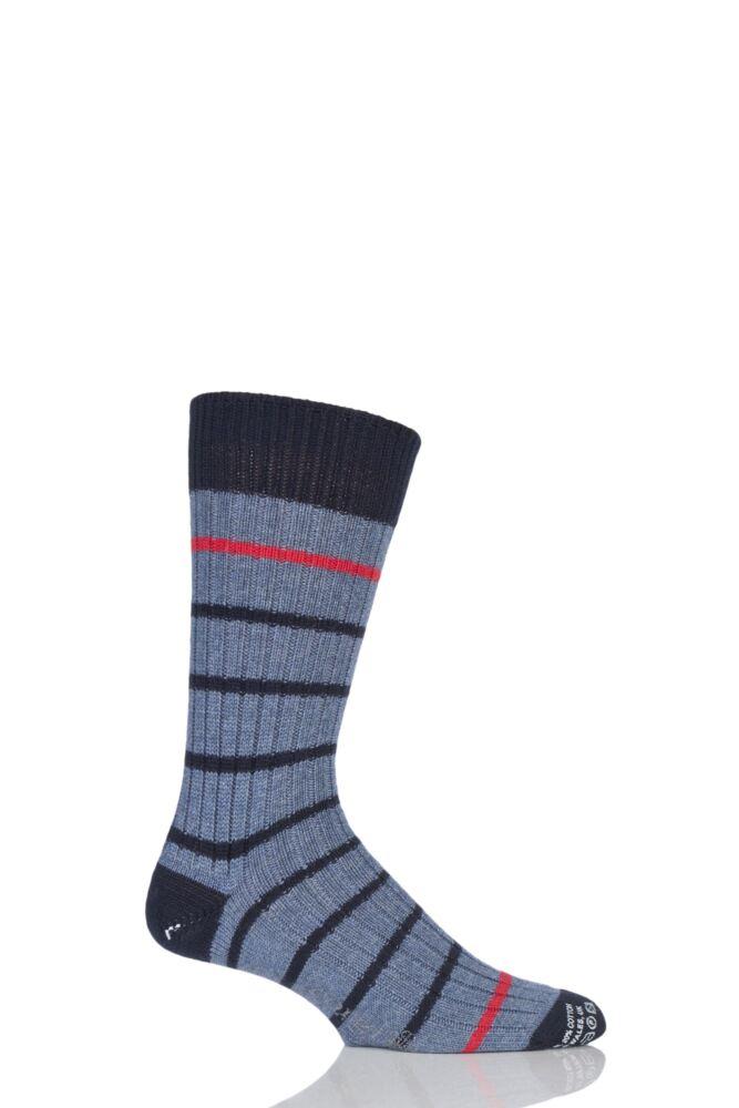 Mens 1 Pair Corgi Heavyweight Wool Thin Striped Ribbed Socks