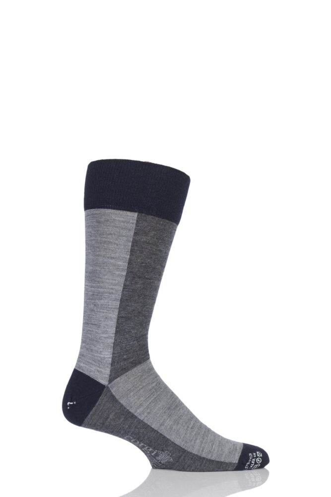 Mens 1 Pair Corgi Lightweight Wool American Colour Block Socks