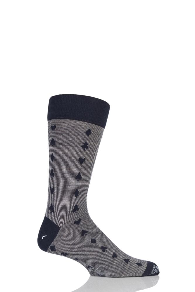 Mens 1 Pair Corgi Lightweight Wool Spades, Clubs, Diamonds and Hearts Socks