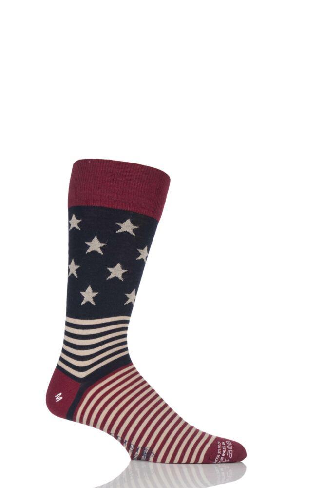 Mens 1 Pair Corgi Lightweight Wool Stars N Stripes Socks