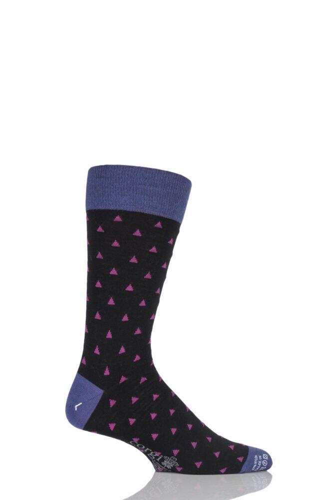 Mens 1 Pair Corgi Lightweight Wool Mini Triangle Patterned Socks