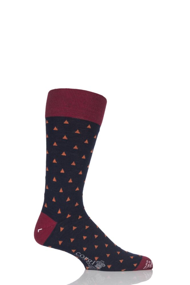 Mens 1 Pair Corgi Lightweight Wool Mini Triangle Patterned Socks