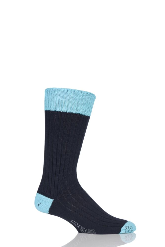 Mens 1 Pair Corgi Heavyweight 100% Cotton Ribbed Socks with Contrast Heel, Toe and Welt