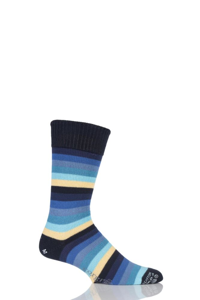 Mens 1 Pair Corgi Heavyweight 100% Cotton Bold Striped Socks