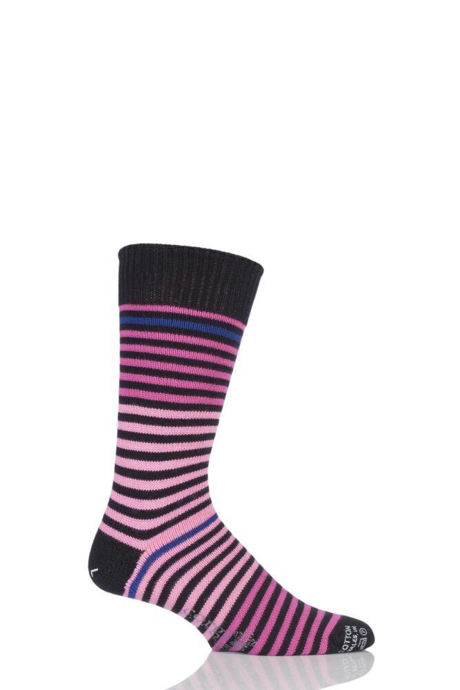 Mens 1 Pair Corgi Heavyweight 100% Cotton Fine Striped Socks