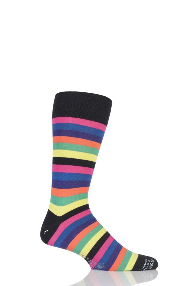 Mens 1 Pair Corgi Lightweight Cotton Block Striped Socks