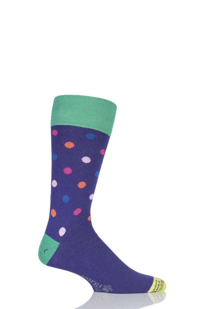 Mens 1 Pair Corgi Lightweight Cotton Multi Spotty Socks