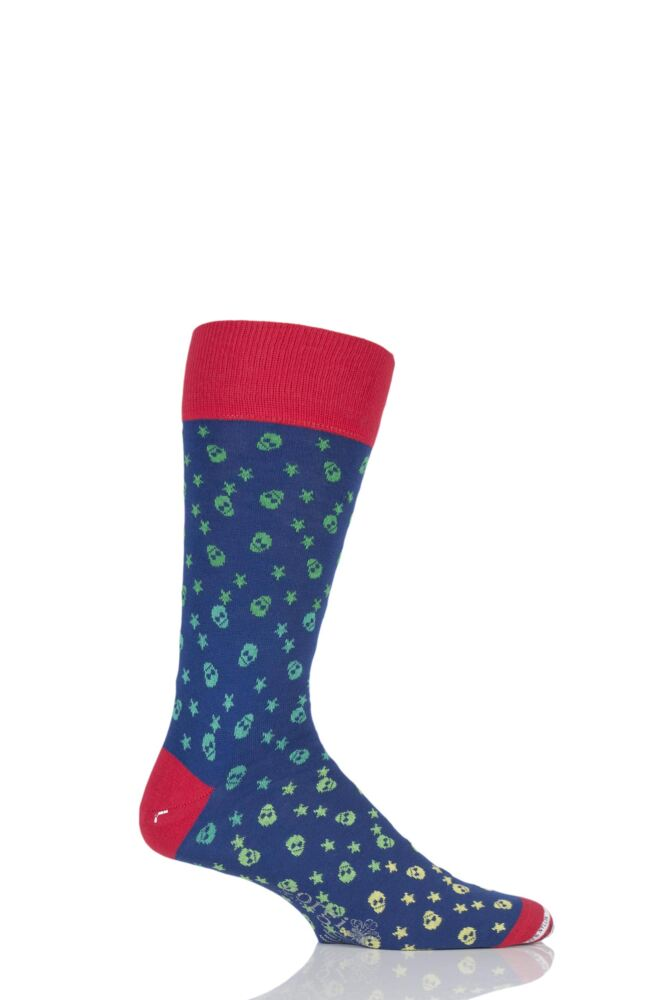 Mens 1 Pair Corgi Lightweight Cotton Skull and Star Patterned Socks
